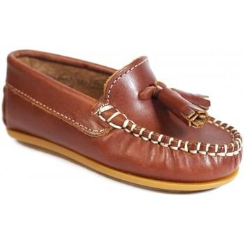 Sapatos Rapariga Mocassins La Valenciana Zapatos Niños  024 Cuero Castanho