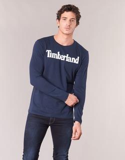Textil Homem T-shirt mangas compridas Timberland LINEAR LOGO PRINT RINGER Marinho