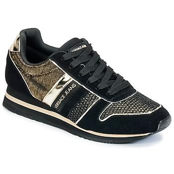 Sapatos Mulher Sapatilhas Versace Jeans LETRE Preto / Dourado