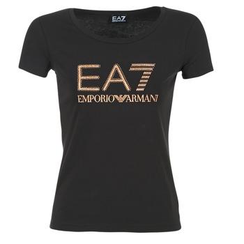 Textil Mulher T-Shirt mangas curtas Emporio Armani EA7 TRAIN LOGO SERIES GLITTER Preto / Dourado / Rosa