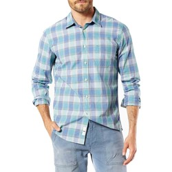 Textil Homem Camisas mangas comprida Dockers LAUNDERED POPLIN LS HARRINGTON azul