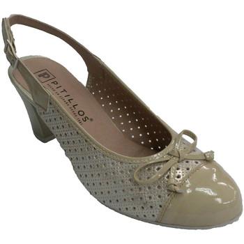 Sapatos Mulher Escarpim Pitillos Mulher aberta atrás sapato combinado com beige
