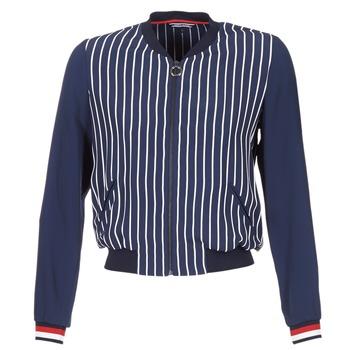 Textil Mulher Casacos/Blazers Tommy Hilfiger NALOME GLOBAL STP BOMBER Marinho / Branco / Vermelho