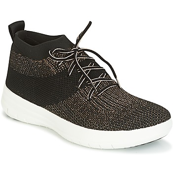 Sapatos Mulher Sapatilhas de cano-alto FitFlop UBERKNIT SLIP-ON HIGH TOP SNEAKER Preto / Bronze