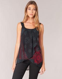 Textil Mulher Tops sem mangas Desigual MEGEC Preto / Vermelho
