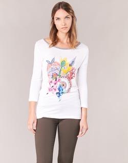 Textil Mulher T-shirt mangas compridas Desigual TERON Branco