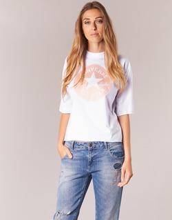 Textil Mulher T-Shirt mangas curtas Converse SATIN CP MOCK NECK TEE Branco