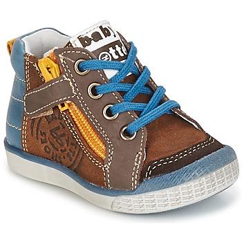 Sapatos Rapaz Sapatilhas de cano-alto Babybotte AKRO Castanho / Azul