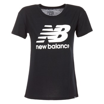 Textil Mulher T-Shirt mangas curtas New Balance NB LOGO T Preto / Branco