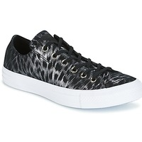 Sapatos Mulher Sapatilhas Converse CHUCK TAYLOR ALL STAR SHIMMER SUEDE OX BLACK/BLACK/WHITE Preto / Branco