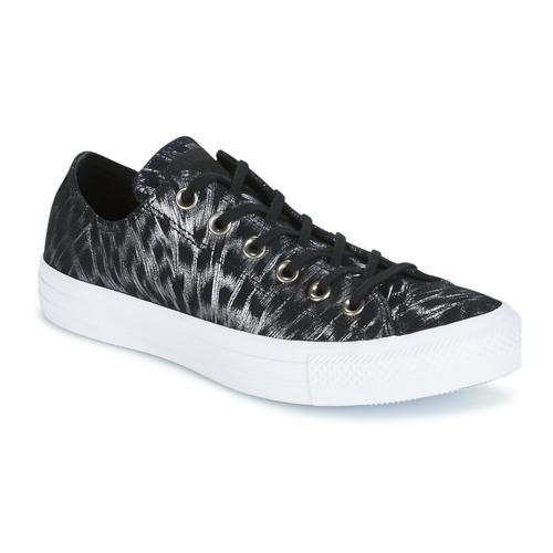 Sapatos Mulher Sapatilhas Converse CHUCK TAYLOR ALL STAR SHIMMER SUEDE OX BLACK/BLACK/WHITE Preto / Branco