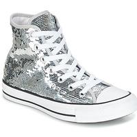 Sapatos Mulher Sapatilhas de cano-alto Converse CHUCK TAYLOR ALL STAR SEQUINS HI SILVER/WHITE/BLACK Prata