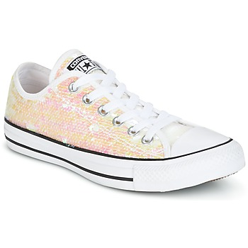 Sapatos Mulher Sapatilhas Converse CHUCK TAYLOR ALL STAR SEQUINS OX WHITE/BLACK/WHITE Branco / Brilhante