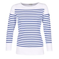 Textil Mulher T-shirt mangas compridas Armor Lux ROADY Branco / Azul