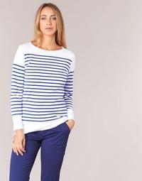 Textil Mulher T-shirt mangas compridas Armor Lux ROADY Branco / Azul