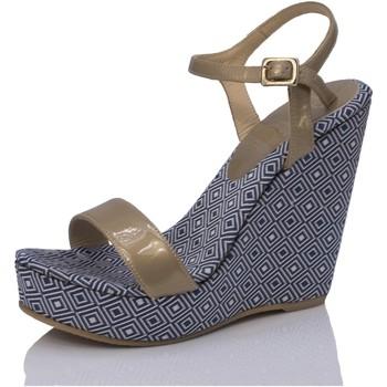 Sapatos Mulher Sandálias Mtbali Sandália Tacão Compensado - Atenas azul