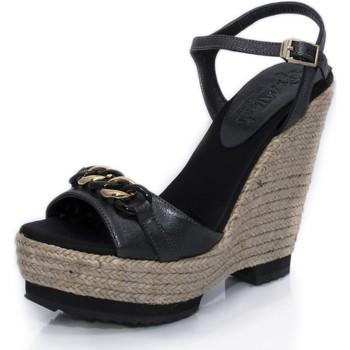 Sapatos Mulher Sandálias Mtbali Sandálias Tacão Compensado - Dubai negro