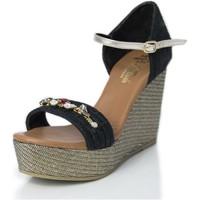 Sapatos Mulher Sandálias Mtbali Sandálias  Tacão Compensado- Paris Glam negro