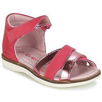 Sapatos Rapariga Sandálias Kickers GIGI Fúchsia  / Rosa / Matal