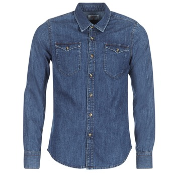 Textil Homem Camisas mangas comprida Yurban IHERZI Azul