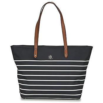 Malas Mulher Cabas / Sac shopping Lauren Ralph Lauren BAINBRIDGE TOTE Preto / Branco