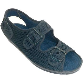 Sapatos Mulher Chinelos Made In Spain 1940 Mulher sapato muito ampla com fivelas no azul