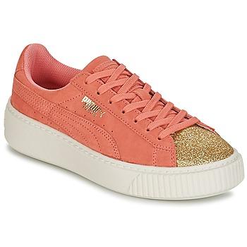 Sapatos Rapariga Sapatilhas Puma SUEDE PLATFORM GLAM JR Laranja / Ouro