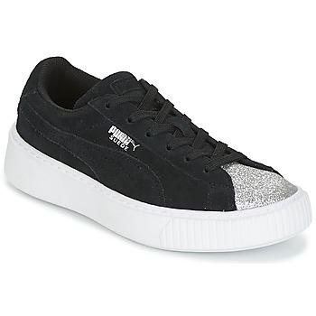 Sapatos Rapariga Sapatilhas Puma SUEDE PLATFORM GLAM PS Preto / Prata