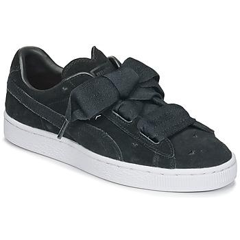 Sapatos Rapariga Sapatilhas Puma SUEDE HEART VALENTINE JR Preto