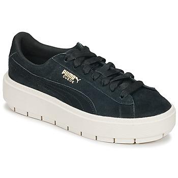 Sapatos Mulher Sapatilhas Puma SUEDE PLATFORM TRACE W'S Preto / Branco