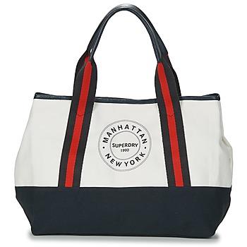 Malas Mulher Cabas / Sac shopping Superdry BAYSHORE BEACH TOTE Branco / Marinho / Vermelho