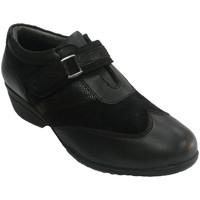 Sapatos Mulher Mocassins 48 Horas Sapato feminino com velcro combinado em couro e camurça  em Pret negro