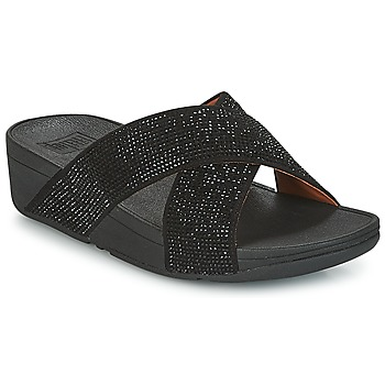 Sapatos Mulher Chinelos FitFlop CRYSTAL II SLIDE SANDALS Preto