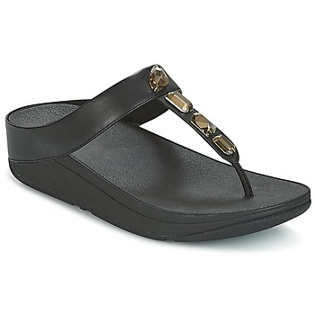Sapatos Mulher Chinelos FitFlop ROKA TOE-THONG SANDALS Preto