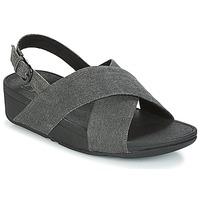 Sapatos Mulher Sandálias FitFlop LULU CROSS BACK-STRAP SANDALS Preto