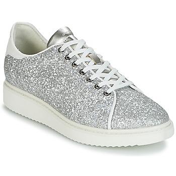 Sapatos Mulher Sapatilhas Geox D THYMAR C Prata / Branco