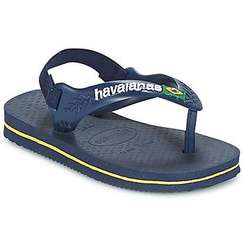 Sapatos Rapaz Chinelos Havaianas BABY BRASIL LOGO Marinho / Amarelo