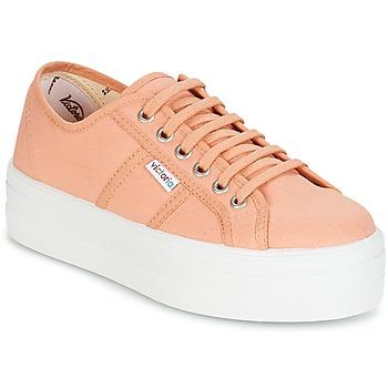 Sapatos Mulher Sapatilhas Victoria BLUCHER LONA PLATAFORMA Laranja