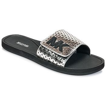 Sapatos Mulher chinelos MICHAEL Michael Kors MK SLIDE Preto / Prata