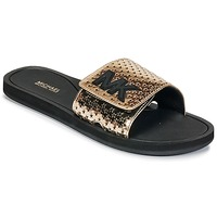 Sapatos Mulher chinelos MICHAEL Michael Kors MK SLIDE Preto / Ouro