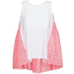 Textil Mulher Tops sem mangas Manoush AJOURE CARRE Branco / Rosa
