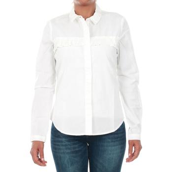Textil Mulher camisas Jacqueline De Yong 15147295 JDYSILLE FRILL L/S SHIRT WVN WHITE Blanco