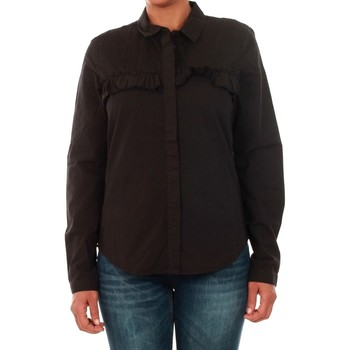 Textil Mulher camisas Jacqueline De Yong 15147295 JDYSILLE FRILL L/S SHIRT WVN BLACK Negro