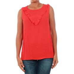 Textil Mulher Tops / Blusas Jacqueline De Yong 15148076 JDYPINAR S/L FRILL TOP WVN HIGH RISK RED Rojo