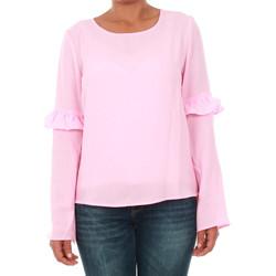 Textil Mulher T-shirt mangas compridas Only 15144539 ONLJUNA FRILL L/S TOP WVN PRISM PINK Rosa