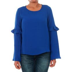 Textil Mulher T-shirt mangas compridas Only 15144539 ONLJUNA FRILL L/S TOP WVN SURF THE WEB Azul