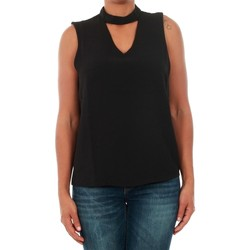 Textil Mulher Tops sem mangas Only 15145266 ONLMYRINA CHOKER S/L SOLID TOP WVN BLACK Negro