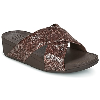 Sapatos Mulher Chinelos FitFlop SWOOP SLIDE Chocolate