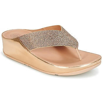 Sapatos Mulher Chinelos FitFlop CRYSTALL Rosa / Ouro