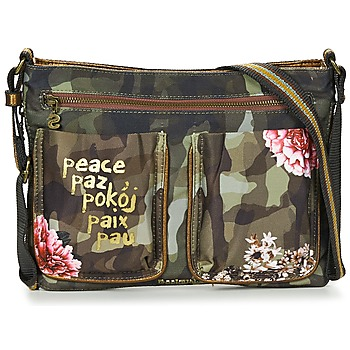 Malas Mulher Bolsa de mão Desigual BOLS_BAQUEIRA MILITAR FLORES Preto / Multicolor